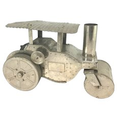 Lindstrom Nickel Plated Tin Wind-Up Mechanical Toy Steam Roller with Box circa 1929
