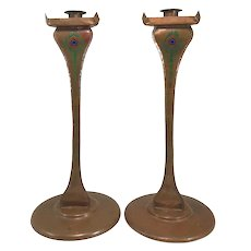 Early 20th c Pair of Art Crafts Shop Tall Enameled Copper Candlesticks