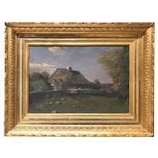 Mary Buell Landscape Oil Painting, The Wilcox Homestead, Clinton, CT circa 1884
