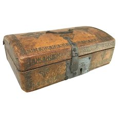18th c English Tooled Leather Bound Dome Top Document or Valuables Box