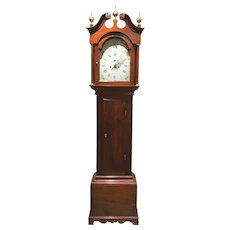 18th or Early 19th c New Hampshire Maple Tall Clock with 8 Day Movement