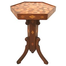 Late 19th c Hexagonal Walnut Stand with Tumbling Block Parquetry