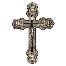 Monumental Nickel Plated Copper Ornate Wall Crucifix on Ebonized Wood