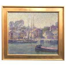 Harriet Randall Lumis Impressionist Oil Painting of a Harbor Scene
