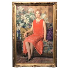 Charles Allan Winter Life Size Oil Painting Portrait of Elizabeth Oakes