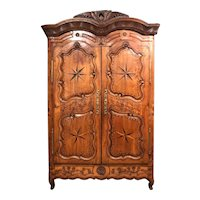 18th Century French Fruitwood Carved and Inlaid Armoire with Shelves