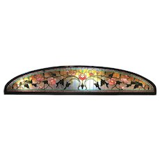 Aesthetic Period Arched Foliate Stained Glass Window or Transom Panel