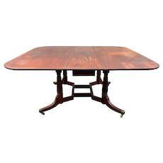 Early 19th c Cumberland Action Drop Leaf Dining Table in Mahogany