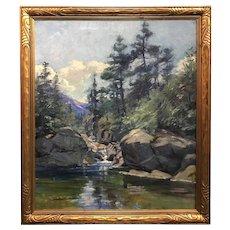 Arthur Merton Hazard Landscape Oil Painting, White Mountain Stream, 1922
