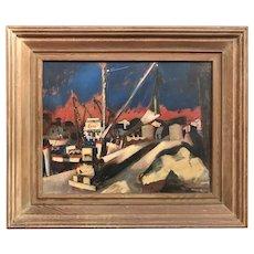 Reginald Leslie Grooms Impressionist Oil Painting, Harbor Dock with Esso Station