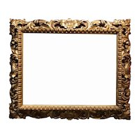19th c Reticulated Scroll Carved Foliate Giltwood Frame with Mirror