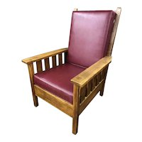 Early 20th c Signed Stickley Arts & Crafts Mission Oak Arm Chair with Leather Pad Upholstery