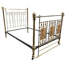Albert Phillips Excelsior Works English Brass Bed with Aesthetic Foliate Panels