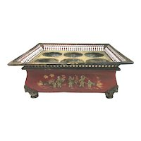 19th Century French Tole Wine Caddy with Chinese Decoration