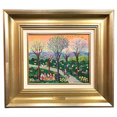 Oscar Borrás Ausias Naive Oil Painting, Tarde de Merienda en Primavera 1986