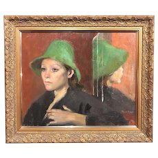 Ramón Pichot Soler Oil Painting of a Woman in a Green Hat