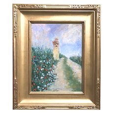 Roger Piaskowski Impressionist Oil Painting, Girl with Flowers