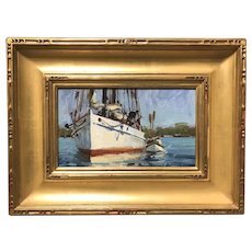 David Bareford Marine Oil Painting with Boats, Disembarking the Sylvania W. Beal