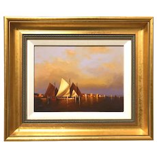 Vernon George Broe Marine Oil Painting with Boats , Ready to Race
