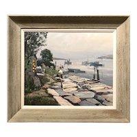 Otis Pierce Cook Jr Marine Oil Painting, Granite Pier, Rockport Mass