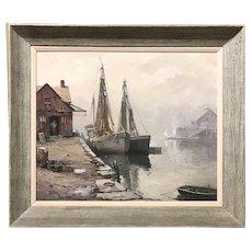 Otis Pierce Cook Jr Marine Oil Painting of a Harbor Scene, Rockport MA