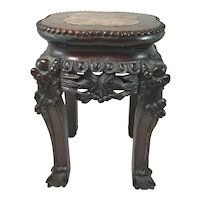 19th / 20th c 12 Inch Diminutive Chinese Hardwood Marble Top Stand