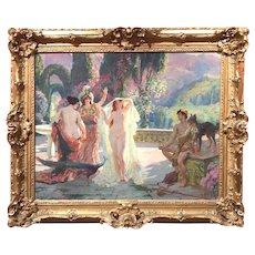 Paul Jean Gervais Genre Oil Painting with Nude Figures, Le Jugement de Paris