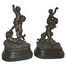 J. Jacques Jaquet Pair of 19th Century Playful Putti Bronzes