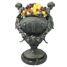 19th / 20th c French Spelter Urn Form Table Lamp with Glass Grapes & Cherubs
