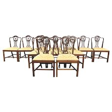 Set of Twelve George III Style Mahogany Dining Chairs with Slip Seats