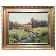 Charles Curtis Allen Oil Painting Landscape, Spring Brook Dublin NH