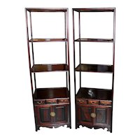 Pair of Early 20th Century Chinese Hardwood Etageres
