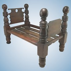 19th Century Mahogany Miniature or Doll's Bed with Cannonball Posts
