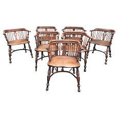 Assembled Set of Seven 19th c English Elmwood Captains Chairs
