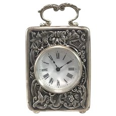Miniature English Carriage Clock in Sterling Silver Repousse Case, circa 1895