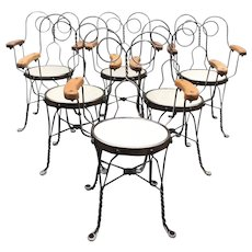Set of Six Vintage Metal & Wood Ice Cream Parlor Chairs with Arms