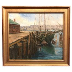 Jane Peterson Marine Oil Painting of a Green Schooner at Dock