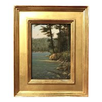 William R. Davis New England Landscape Oil Painting, Lake Shore Vignette
