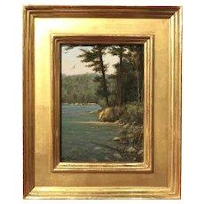 William R. Davis New England Landscape Oil Painting, Lake Shore Vignette
