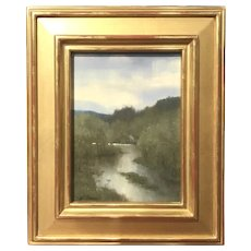 William R. Davis Landscape Oil Painting, View From the Top of Stone Arch Bridge, Keene, NH