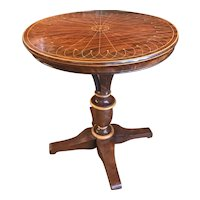 19th Century Biedermeier Round Top Mahogany Center Table with Line Inlay