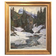 Aldro Thompson Hibbard Landscape Oil Painting, Lone Peak, Canadian Rockies