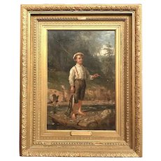 "Junius Brutus Stearns 19th c Oil Painting of a Boy Fishing Titled ""Satisfaction"""