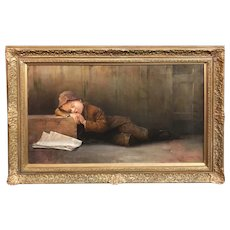 Karl Witkowski Oil Painting of a Sleeping Newsboy, One Paper Left