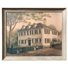 Edith Ballinger Price Oil Painting of a Newport, Rhode Island Home