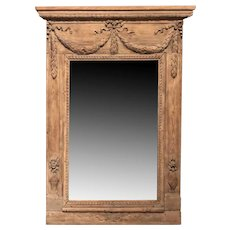 18th Century French Carved Oak Wall Mirror with Swag Decoration