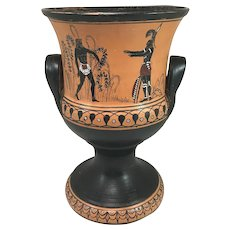 Late 19th c Grand Tour Greek Polychrome Terracotta Calyx Krater or Mixing Bowl