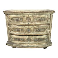 Miniature Swedish Bow Front Chest of Drawers in Original Paint circa 1760