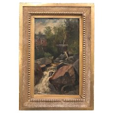Frank Henry Shapleigh Landscape Oil Painting, Old Mill at Jackson, NH 1886