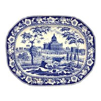 Large 19th c Blue & White Staffordshire Historical Transferware Platter with MA State House